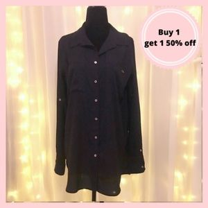 Calvin Klein black and gold button up blouse